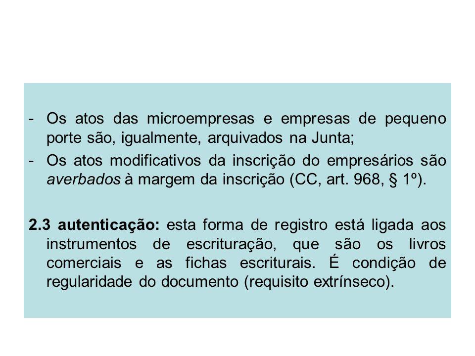 -Os atos das microempresas e empresas de pequeno porte são, igualmente, arquivados na Junta; -Os atos modificativos da inscrição do empresários são av