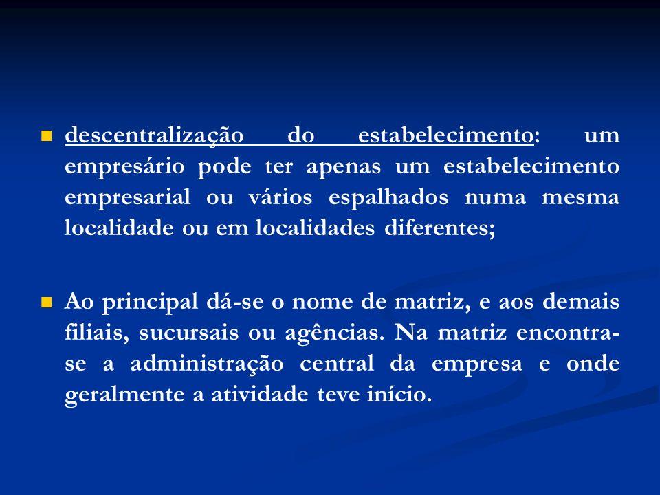 descentralização do estabelecimento: um empresário pode ter apenas um estabelecimento empresarial ou vários espalhados numa mesma localidade ou em loc