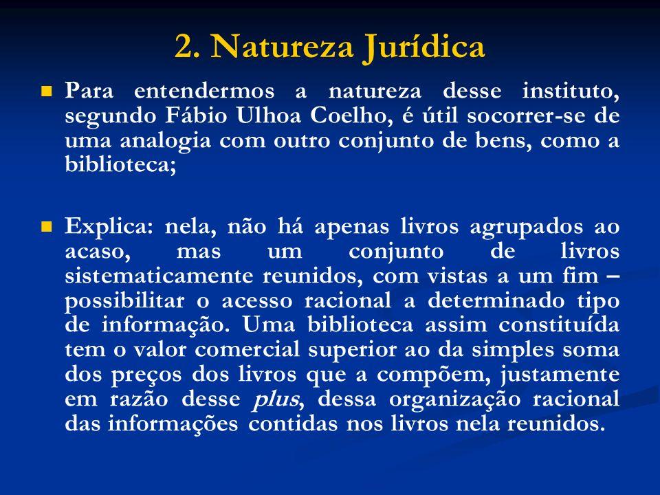 2. Natureza Jurídica Para entendermos a natureza desse instituto, segundo Fábio Ulhoa Coelho, é útil socorrer-se de uma analogia com outro conjunto de
