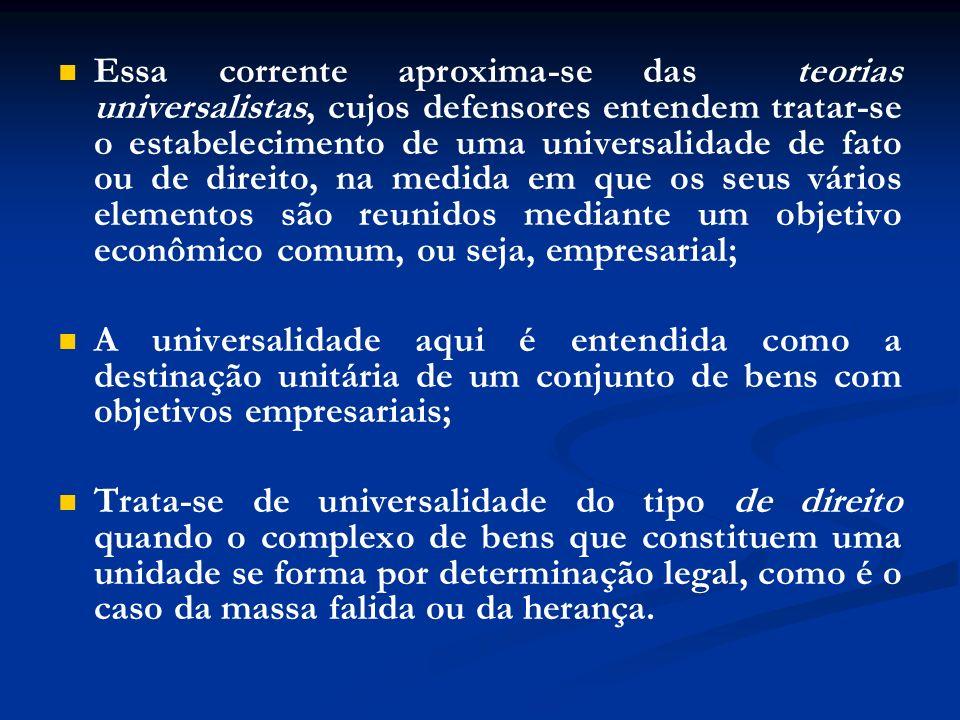Essa corrente aproxima-se das teorias universalistas, cujos defensores entendem tratar-se o estabelecimento de uma universalidade de fato ou de direit