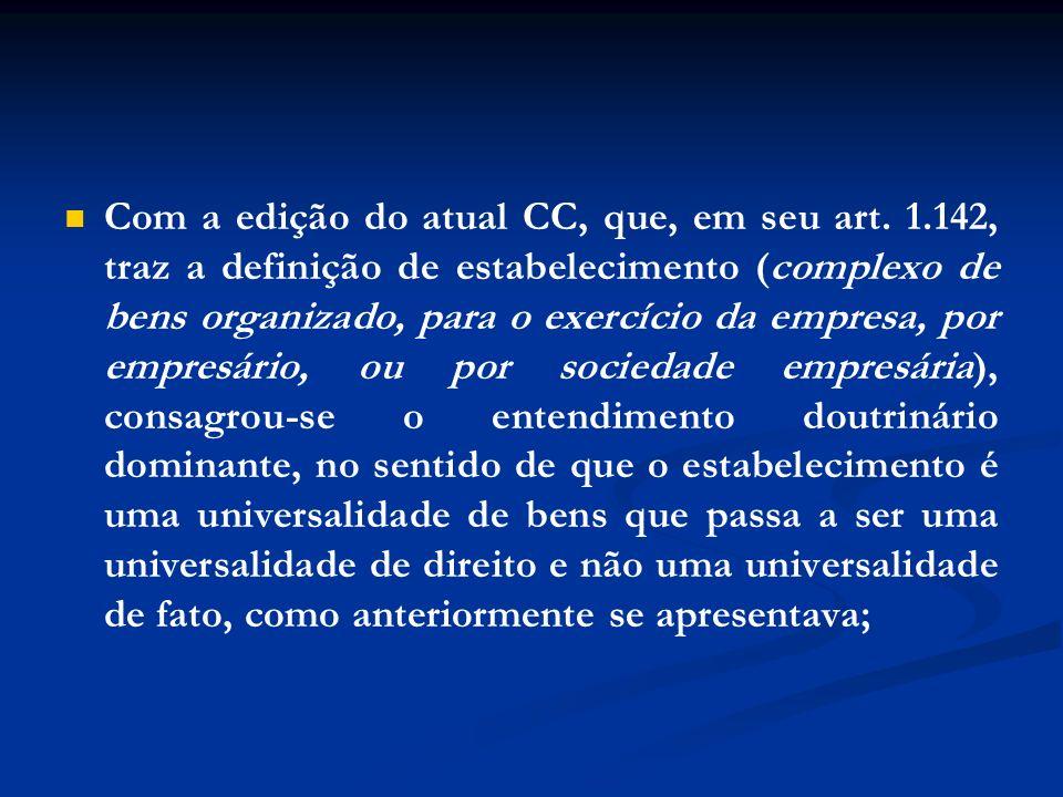 Com a edição do atual CC, que, em seu art. 1.142, traz a definição de estabelecimento (complexo de bens organizado, para o exercício da empresa, por e