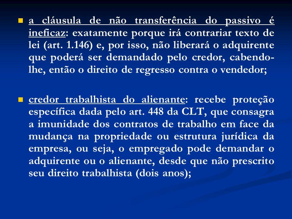 a cláusula de não transferência do passivo é ineficaz: exatamente porque irá contrariar texto de lei (art. 1.146) e, por isso, não liberará o adquiren