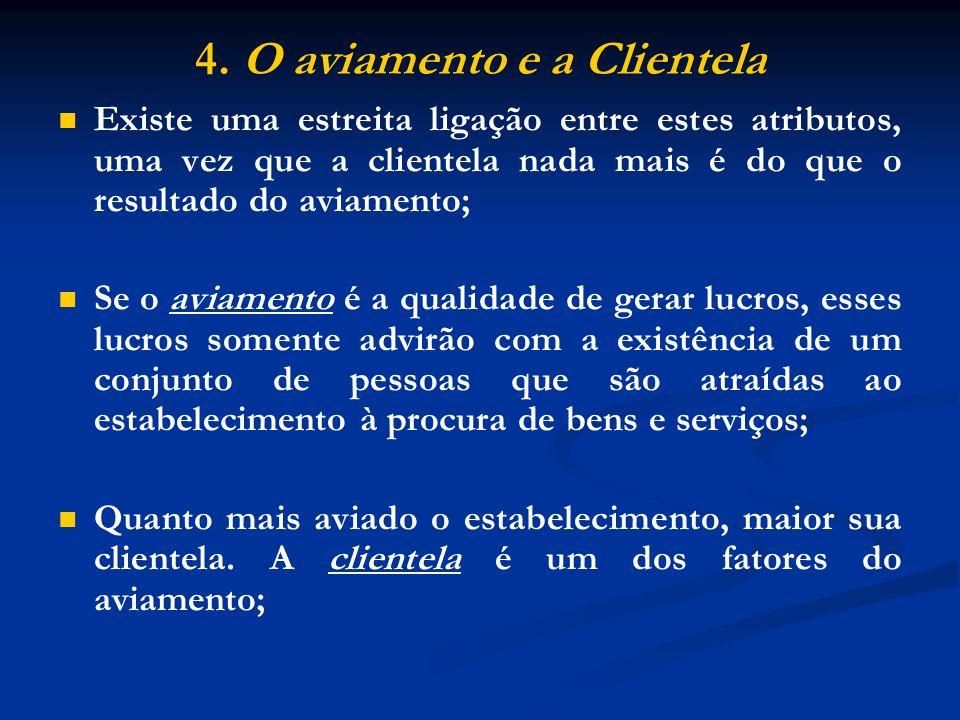 4. O aviamento e a Clientela Existe uma estreita ligação entre estes atributos, uma vez que a clientela nada mais é do que o resultado do aviamento; S