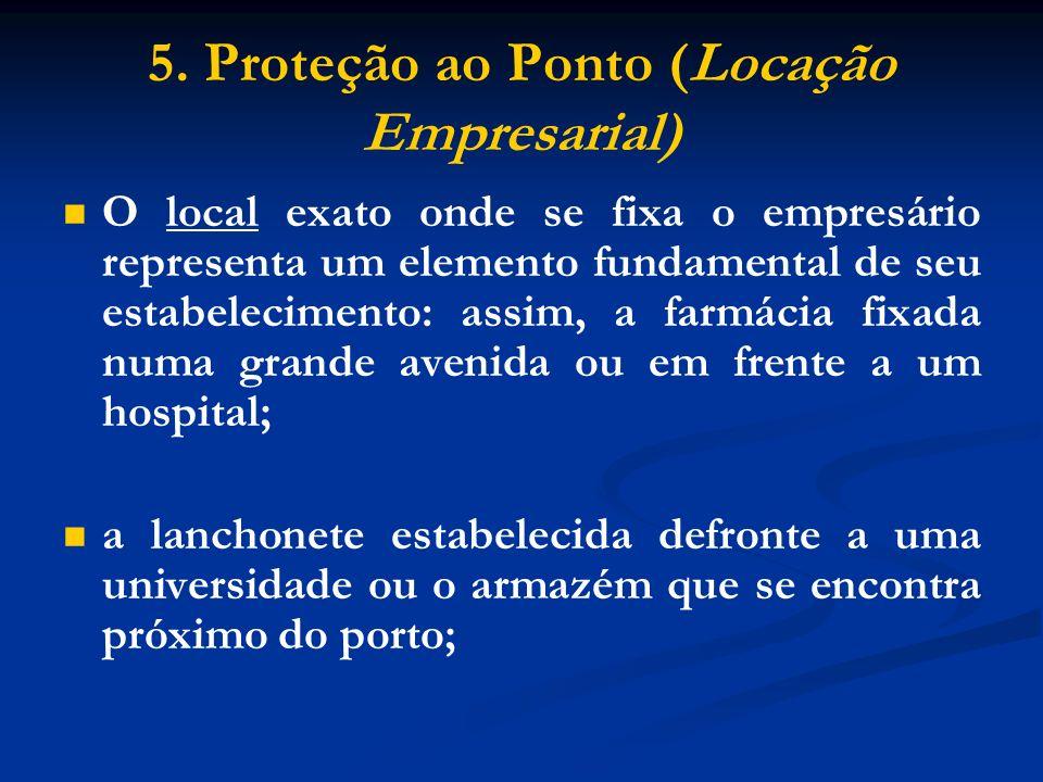 5. Proteção ao Ponto (Locação Empresarial) O local exato onde se fixa o empresário representa um elemento fundamental de seu estabelecimento: assim, a