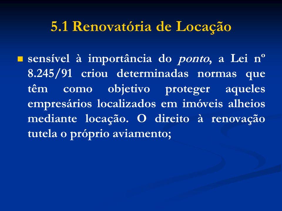 5.1 Renovatória de Locação sensível à importância do ponto, a Lei nº 8.245/91 criou determinadas normas que têm como objetivo proteger aqueles empresá