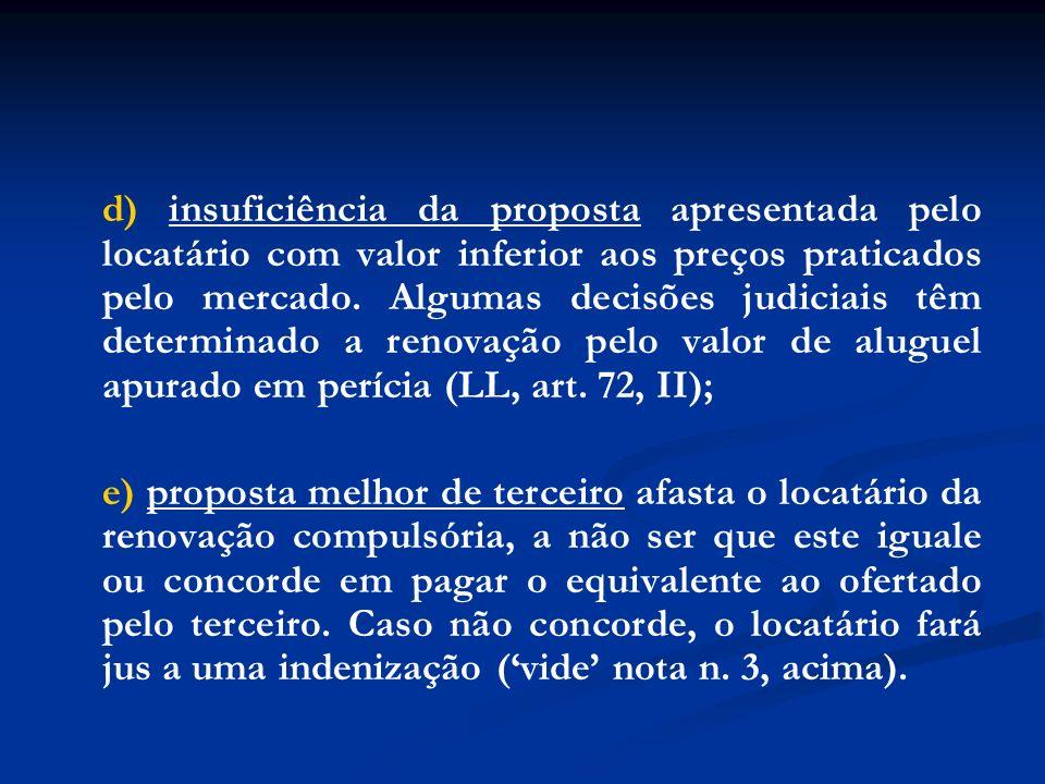 d) insuficiência da proposta apresentada pelo locatário com valor inferior aos preços praticados pelo mercado. Algumas decisões judiciais têm determin