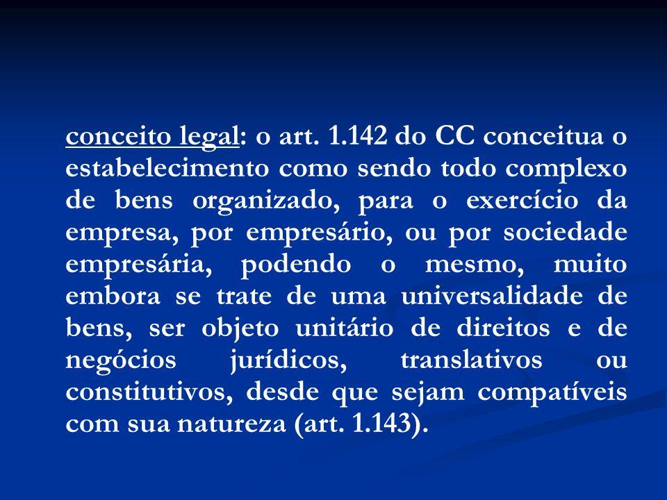 conceito legal: o art. 1.142 do CC conceitua o estabelecimento como sendo todo complexo de bens organizado, para o exercício da empresa, por empresári