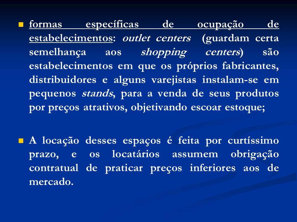 formas específicas de ocupação de estabelecimentos: outlet centers (guardam certa semelhança aos shopping centers) são estabelecimentos em que os próp