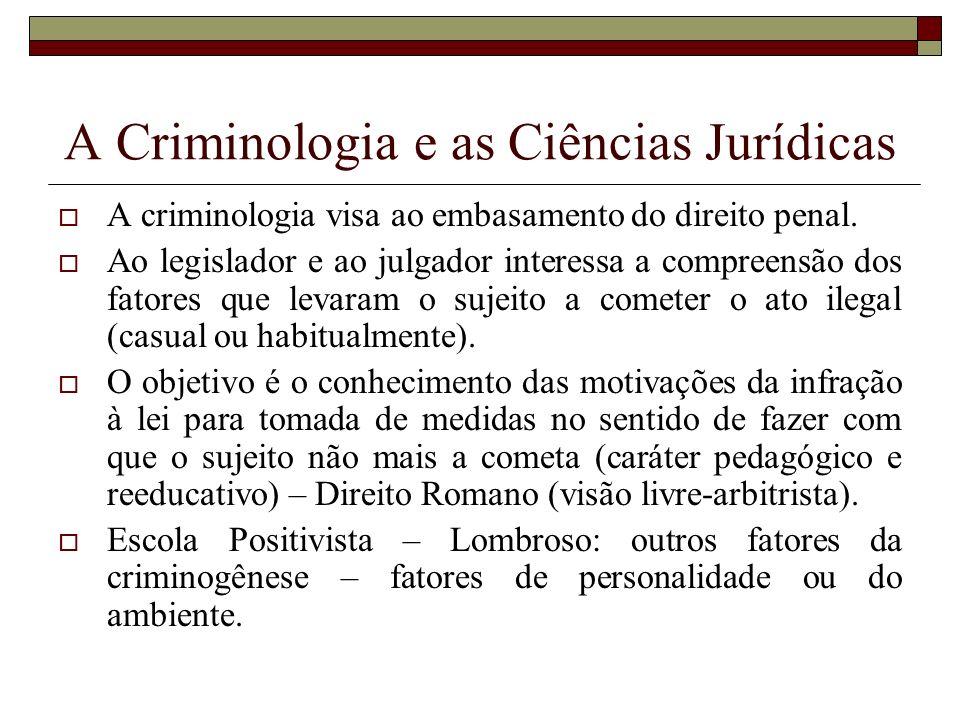 A Criminologia e as Ciências Jurídicas A criminologia visa ao embasamento do direito penal. Ao legislador e ao julgador interessa a compreensão dos fa