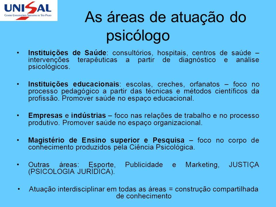 As áreas de atuação do psicólogo Instituições de Saúde: consultórios, hospitais, centros de saúde – intervenções terapêuticas a partir de diagnóstico