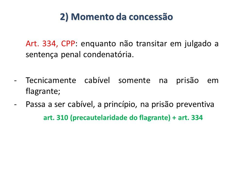 2) Momento da concessão Art. 334, CPP: enquanto não transitar em julgado a sentença penal condenatória. -Tecnicamente cabível somente na prisão em fla
