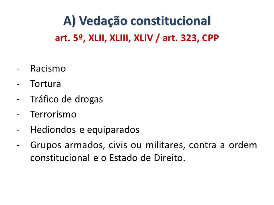 A) Vedação constitucional art. 5º, XLII, XLIII, XLIV / art. 323, CPP -Racismo -Tortura -Tráfico de drogas -Terrorismo -Hediondos e equiparados -Grupos