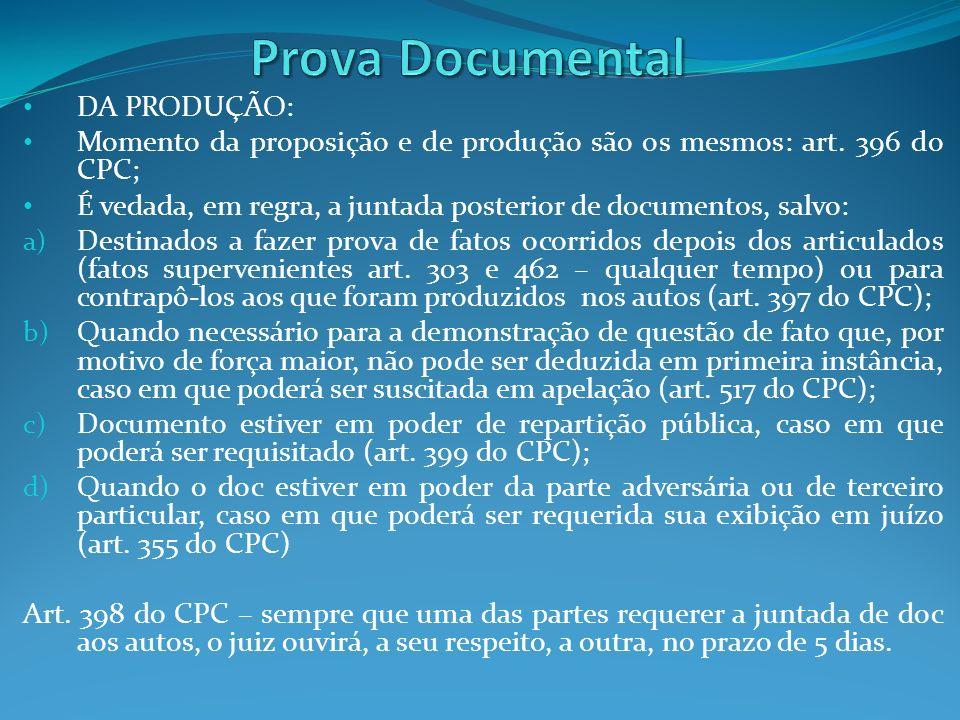 DA PRODUÇÃO: Momento da proposição e de produção são os mesmos: art. 396 do CPC; É vedada, em regra, a juntada posterior de documentos, salvo: a) Dest
