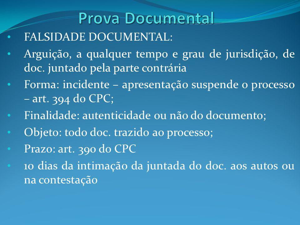 FALSIDADE DOCUMENTAL: Arguição, a qualquer tempo e grau de jurisdição, de doc. juntado pela parte contrária Forma: incidente – apresentação suspende o
