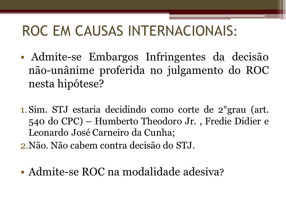 Admite-se Embargos Infringentes da decisão não-unânime proferida no julgamento do ROC nesta hipótese? 1.Sim. STJ estaria decidindo como corte de 2°gra