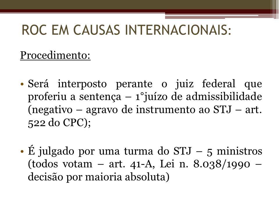 Procedimento: Será interposto perante o juiz federal que proferiu a sentença – 1°juízo de admissibilidade (negativo – agravo de instrumento ao STJ – a