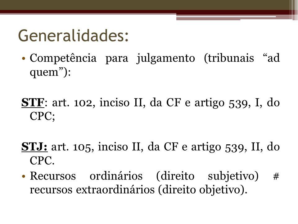 Generalidades: Competência para julgamento (tribunais ad quem): STF: art. 102, inciso II, da CF e artigo 539, I, do CPC; STJ: art. 105, inciso II, da