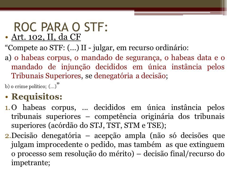 ROC PARA O STF: Art. 102, II, da CF Compete ao STF: (...) II - julgar, em recurso ordinário: a) o habeas corpus, o mandado de segurança, o habeas data