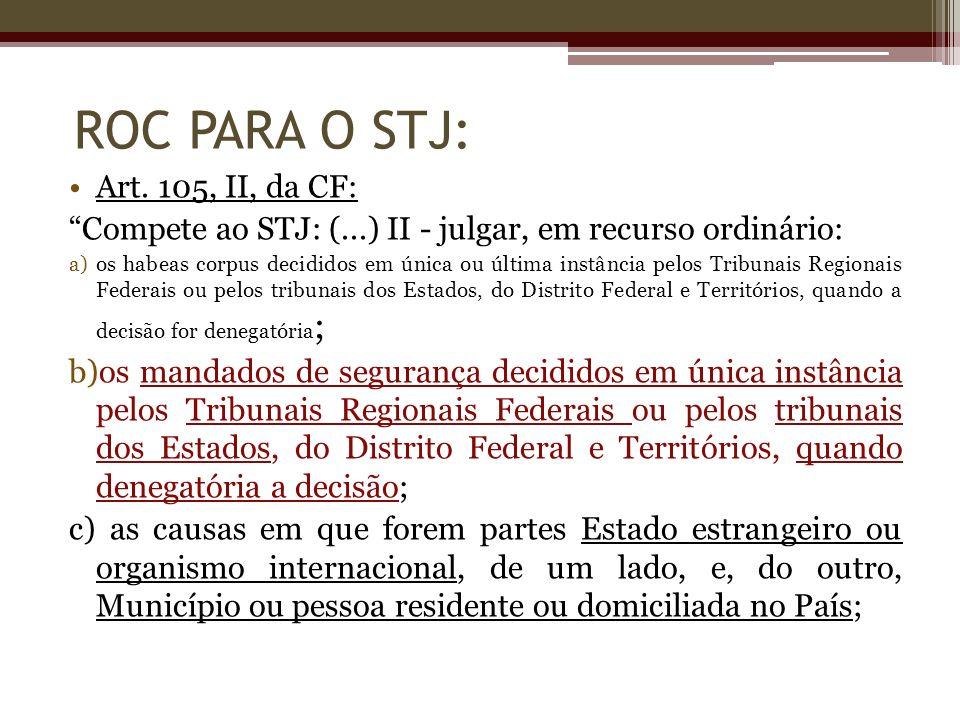 Art. 105, II, da CF: Compete ao STJ: (...) II - julgar, em recurso ordinário: a)os habeas corpus decididos em única ou última instância pelos Tribunai