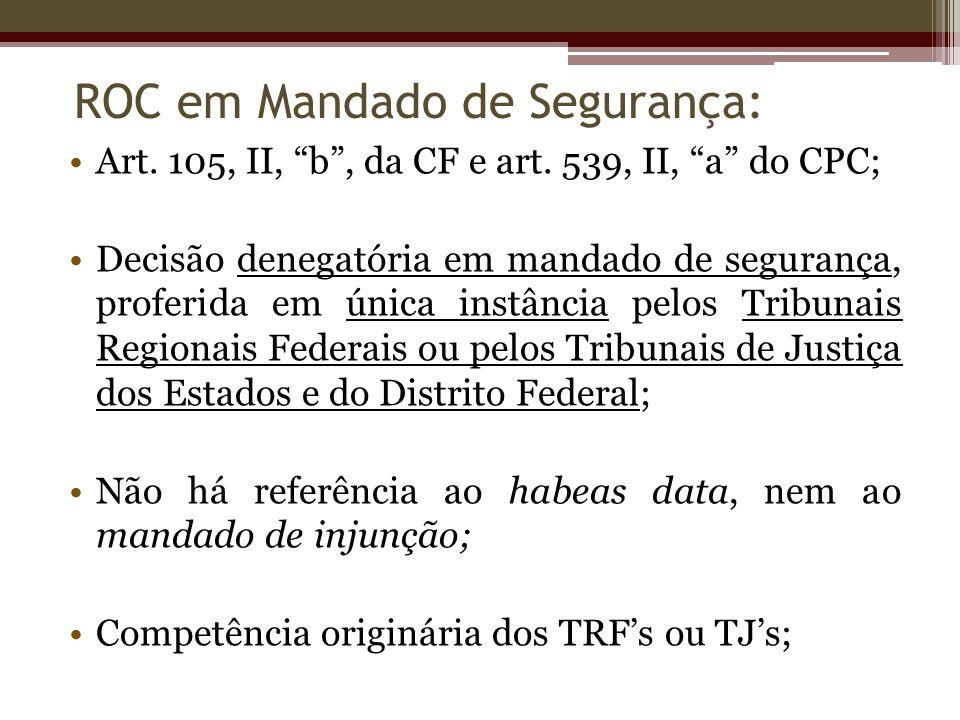 Art. 105, II, b, da CF e art. 539, II, a do CPC; Decisão denegatória em mandado de segurança, proferida em única instância pelos Tribunais Regionais F