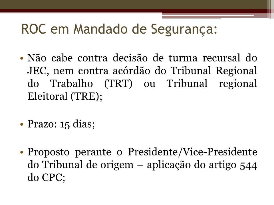 Não cabe contra decisão de turma recursal do JEC, nem contra acórdão do Tribunal Regional do Trabalho (TRT) ou Tribunal regional Eleitoral (TRE); Praz
