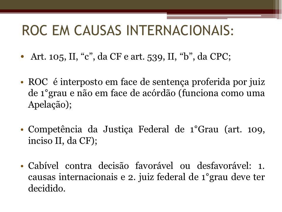 Art. 105, II, c, da CF e art. 539, II, b, da CPC; ROC é interposto em face de sentença proferida por juiz de 1°grau e não em face de acórdão (funciona