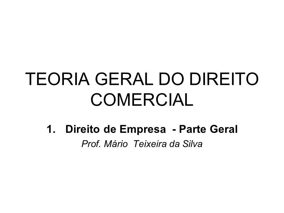 TEORIA GERAL DO DIREITO COMERCIAL 1.Direito de Empresa - Parte Geral Prof. Mário Teixeira da Silva