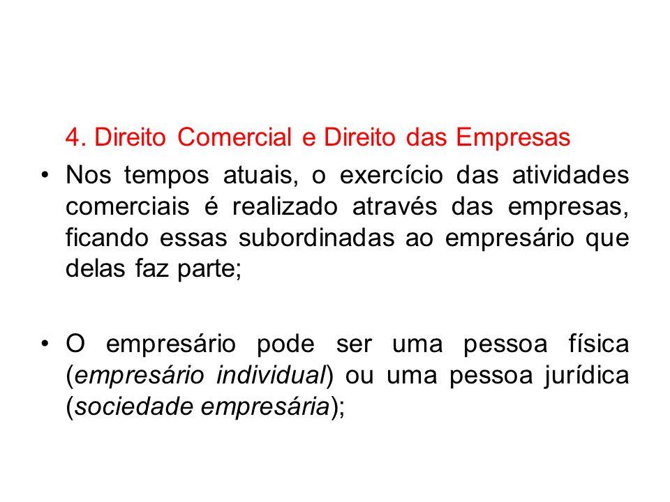 4. Direito Comercial e Direito das Empresas Nos tempos atuais, o exercício das atividades comerciais é realizado através das empresas, ficando essas s