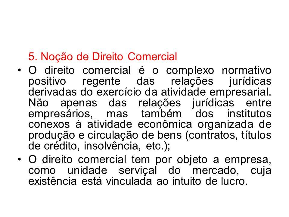 5. Noção de Direito Comercial O direito comercial é o complexo normativo positivo regente das relações jurídicas derivadas do exercício da atividade e