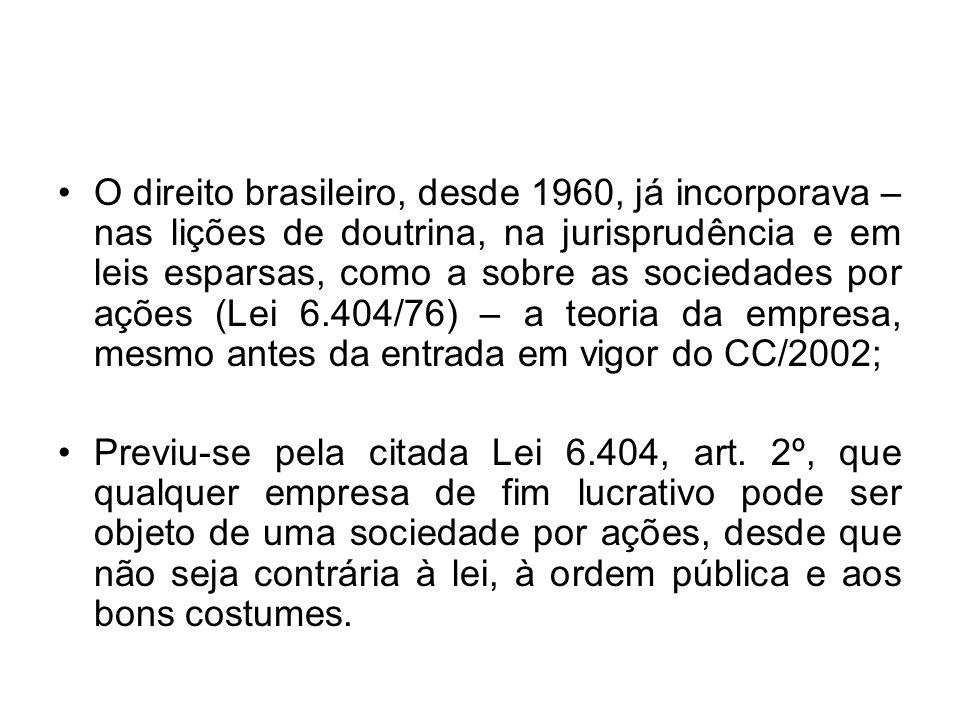 O direito brasileiro, desde 1960, já incorporava – nas lições de doutrina, na jurisprudência e em leis esparsas, como a sobre as sociedades por ações
