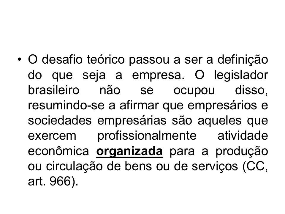O desafio teórico passou a ser a definição do que seja a empresa. O legislador brasileiro não se ocupou disso, resumindo-se a afirmar que empresários