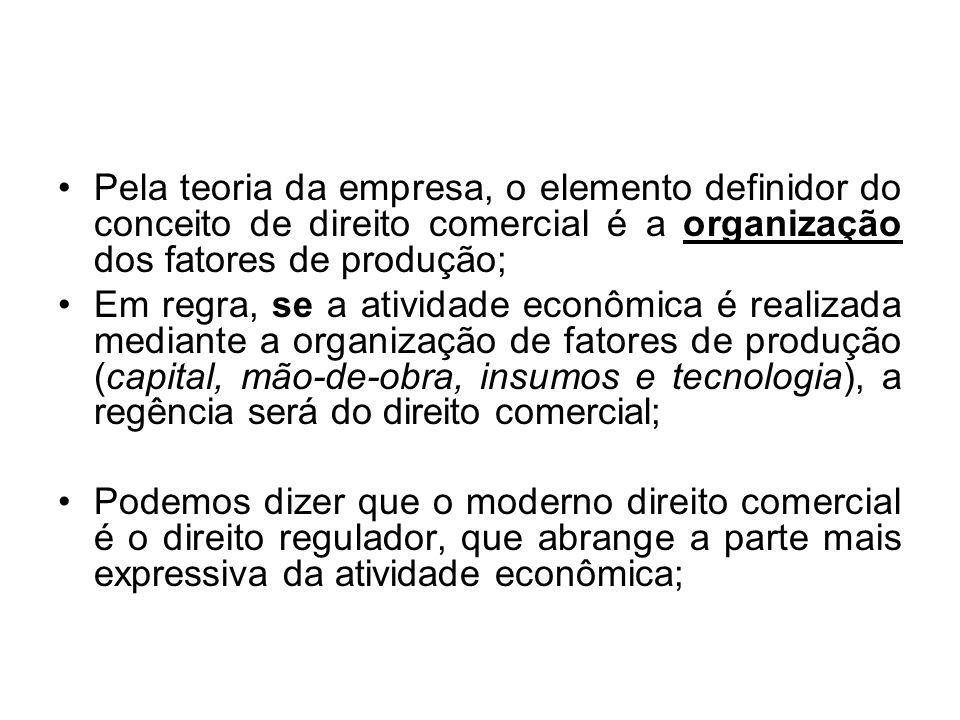 Pela teoria da empresa, o elemento definidor do conceito de direito comercial é a organização dos fatores de produção; Em regra, se a atividade econôm
