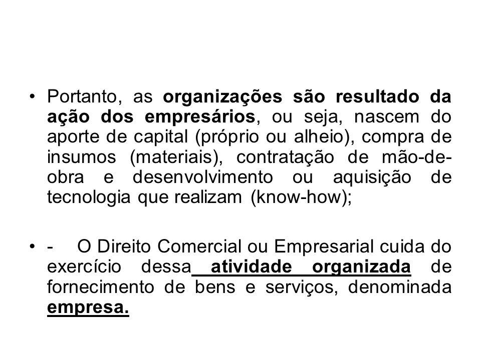 Portanto, as organizações são resultado da ação dos empresários, ou seja, nascem do aporte de capital (próprio ou alheio), compra de insumos (materiai