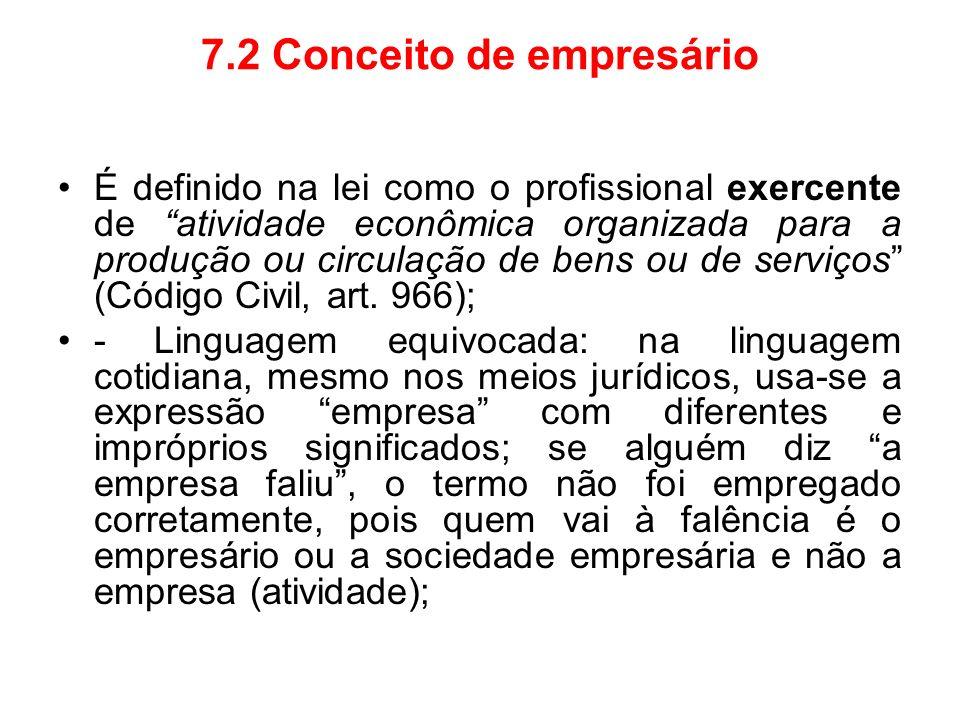 7.2 Conceito de empresário É definido na lei como o profissional exercente de atividade econômica organizada para a produção ou circulação de bens ou