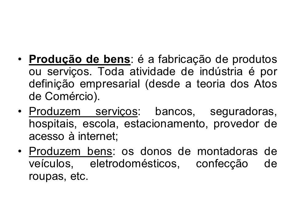 Produção de bens: é a fabricação de produtos ou serviços. Toda atividade de indústria é por definição empresarial (desde a teoria dos Atos de Comércio