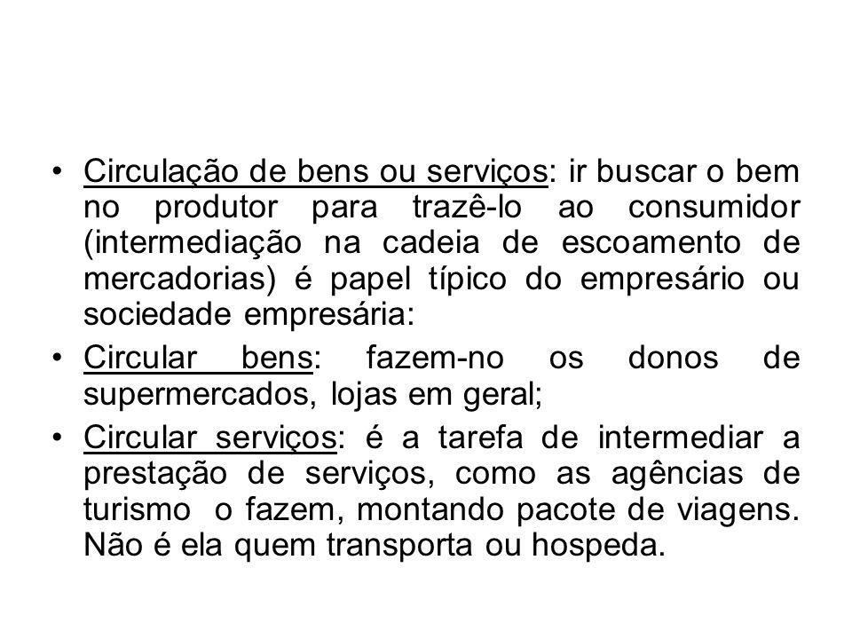 Circulação de bens ou serviços: ir buscar o bem no produtor para trazê-lo ao consumidor (intermediação na cadeia de escoamento de mercadorias) é papel