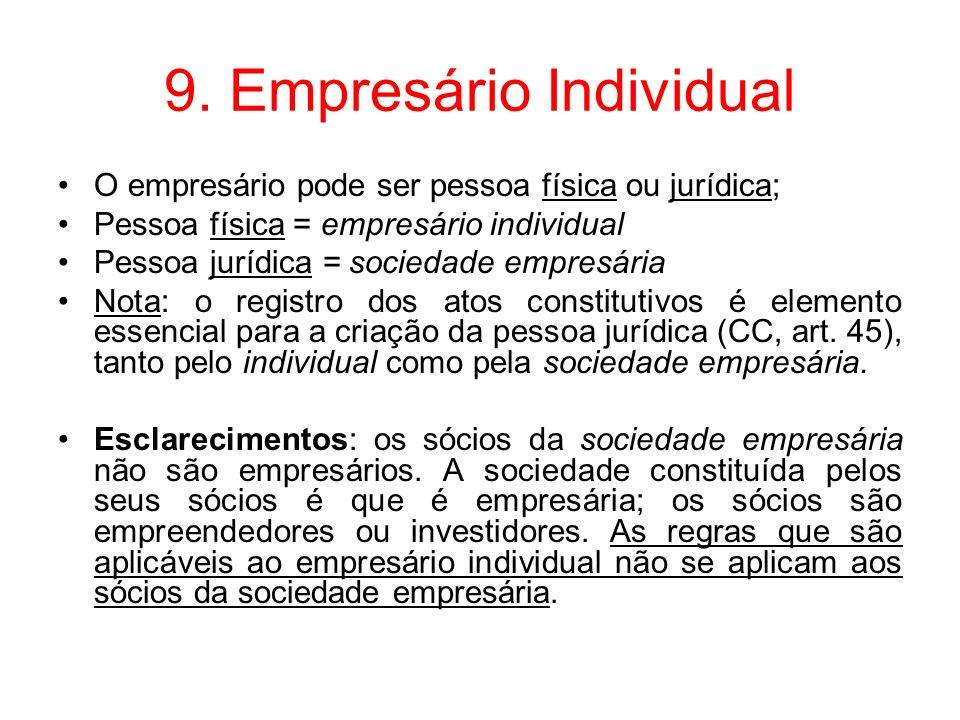 9. Empresário Individual O empresário pode ser pessoa física ou jurídica; Pessoa física = empresário individual Pessoa jurídica = sociedade empresária