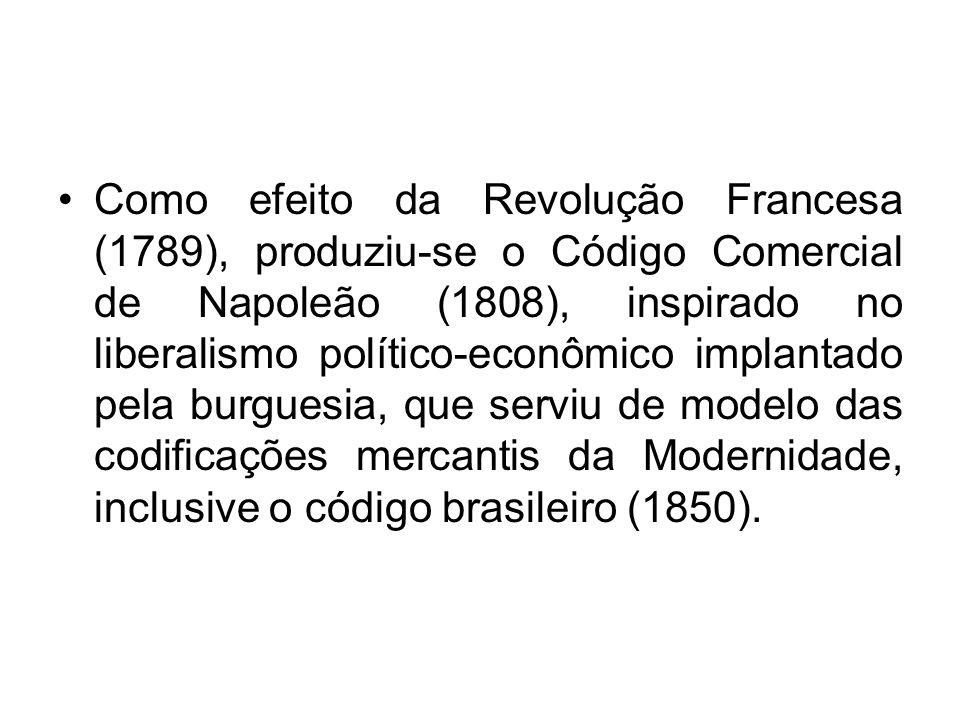 Como efeito da Revolução Francesa (1789), produziu-se o Código Comercial de Napoleão (1808), inspirado no liberalismo político-econômico implantado pe