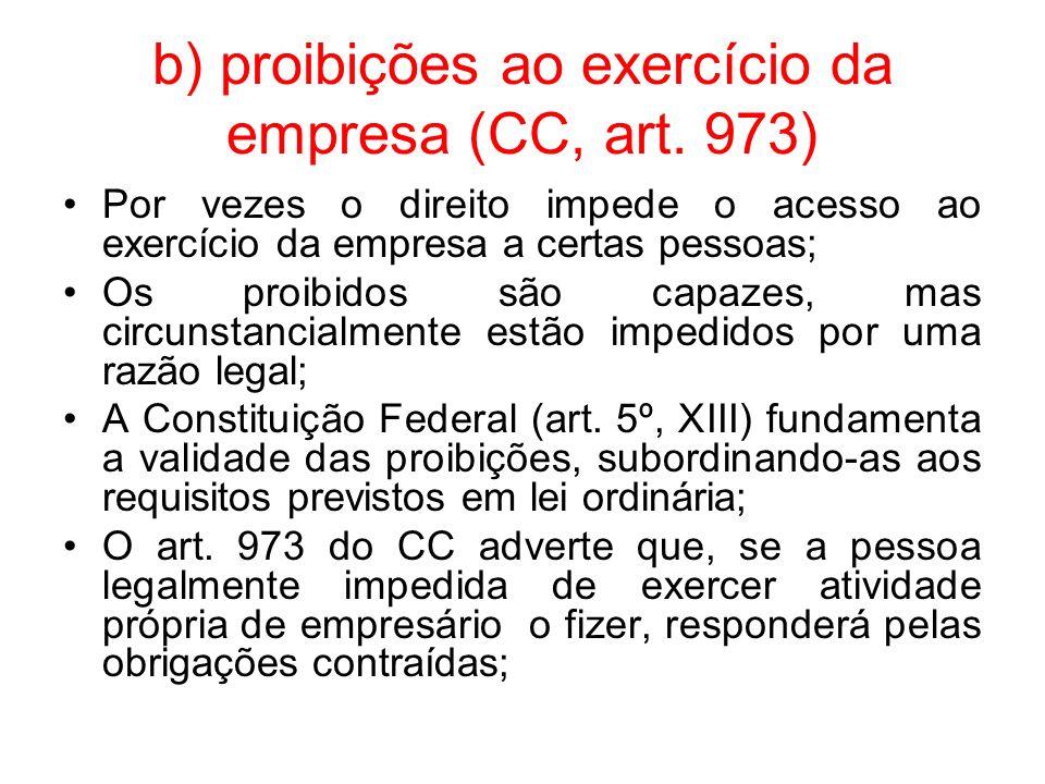 b) proibições ao exercício da empresa (CC, art. 973) Por vezes o direito impede o acesso ao exercício da empresa a certas pessoas; Os proibidos são ca