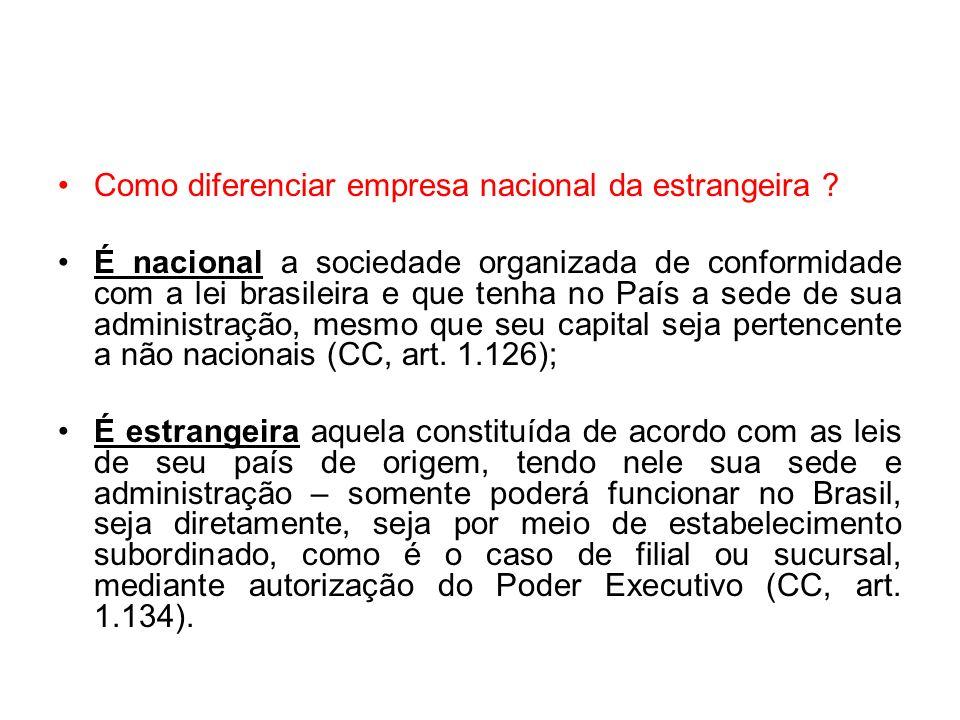 Como diferenciar empresa nacional da estrangeira ? É nacional a sociedade organizada de conformidade com a lei brasileira e que tenha no País a sede d