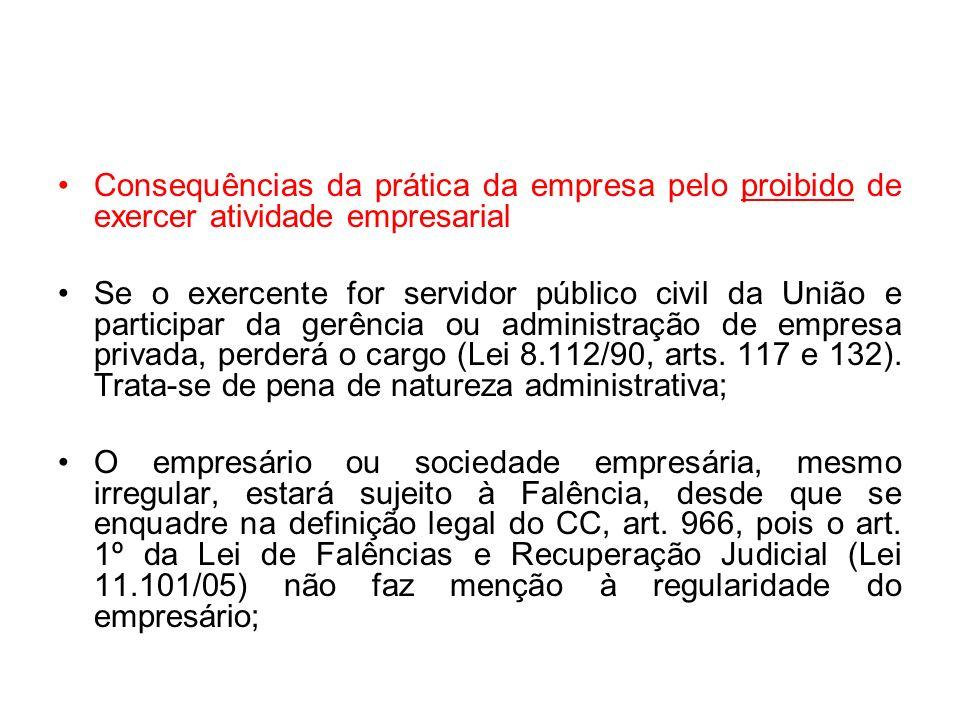 Consequências da prática da empresa pelo proibido de exercer atividade empresarial Se o exercente for servidor público civil da União e participar da