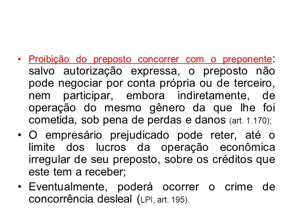 Proibição do preposto concorrer com o preponente : salvo autorização expressa, o preposto não pode negociar por conta própria ou de terceiro, nem part