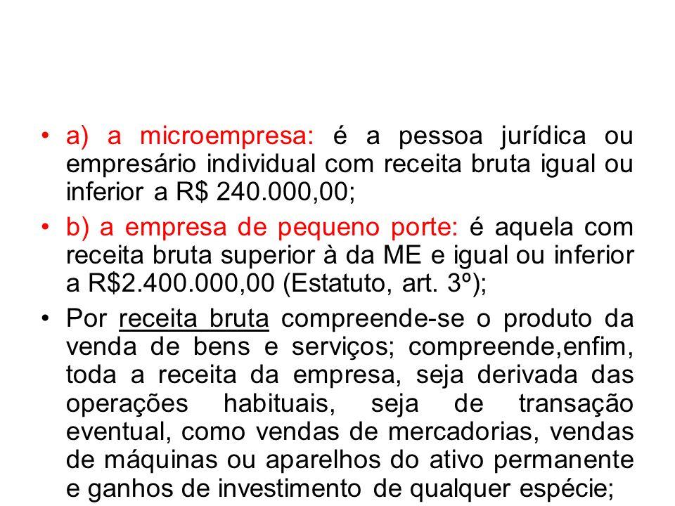 a) a microempresa: é a pessoa jurídica ou empresário individual com receita bruta igual ou inferior a R$ 240.000,00; b) a empresa de pequeno porte: é