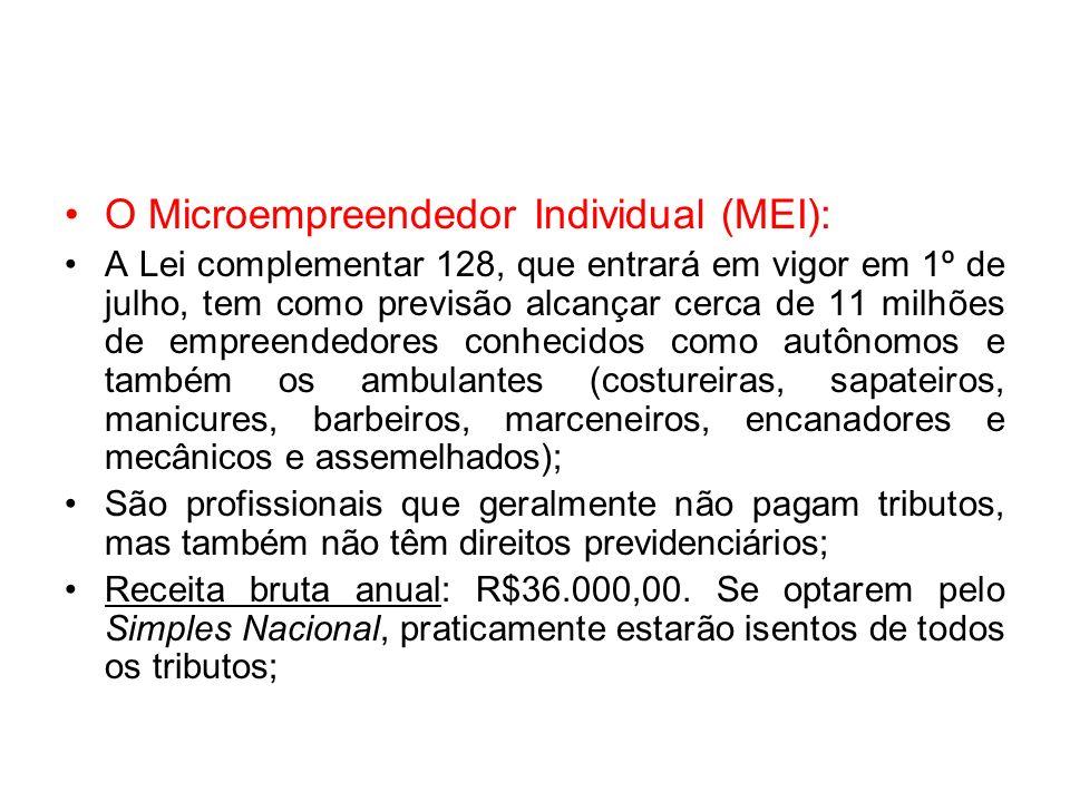 O Microempreendedor Individual (MEI): A Lei complementar 128, que entrará em vigor em 1º de julho, tem como previsão alcançar cerca de 11 milhões de e