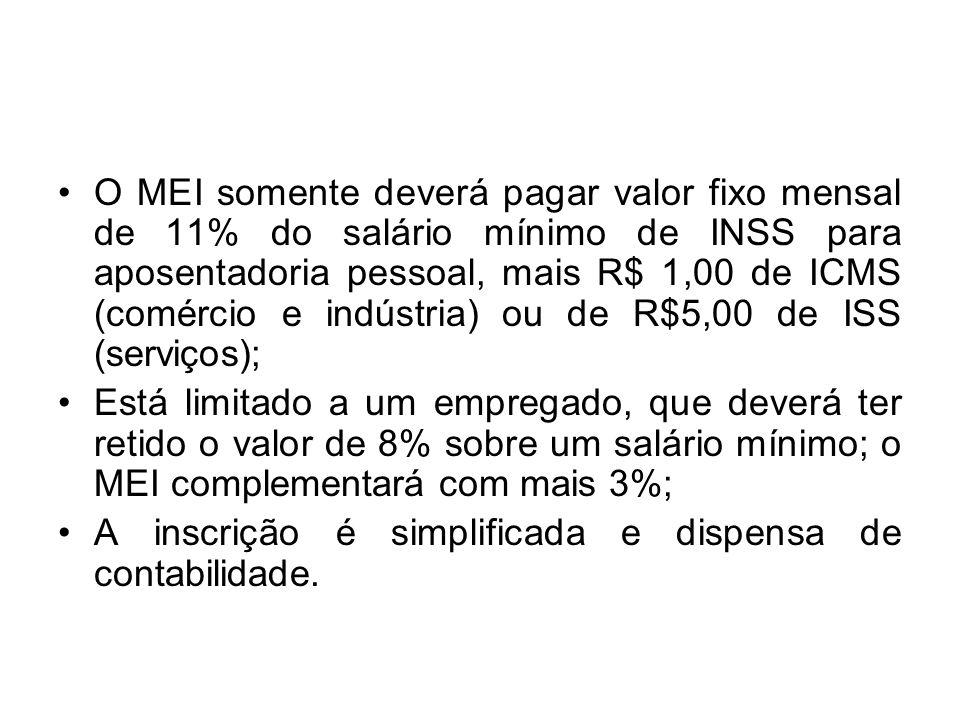 O MEI somente deverá pagar valor fixo mensal de 11% do salário mínimo de INSS para aposentadoria pessoal, mais R$ 1,00 de ICMS (comércio e indústria)