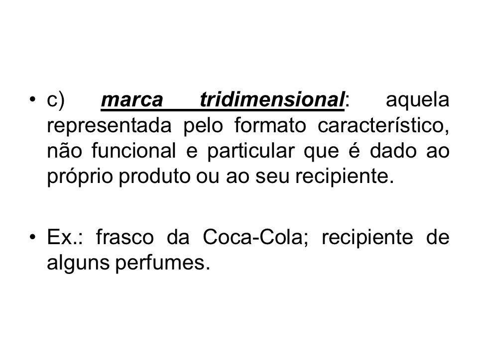 c) marca tridimensional: aquela representada pelo formato característico, não funcional e particular que é dado ao próprio produto ou ao seu recipiente.