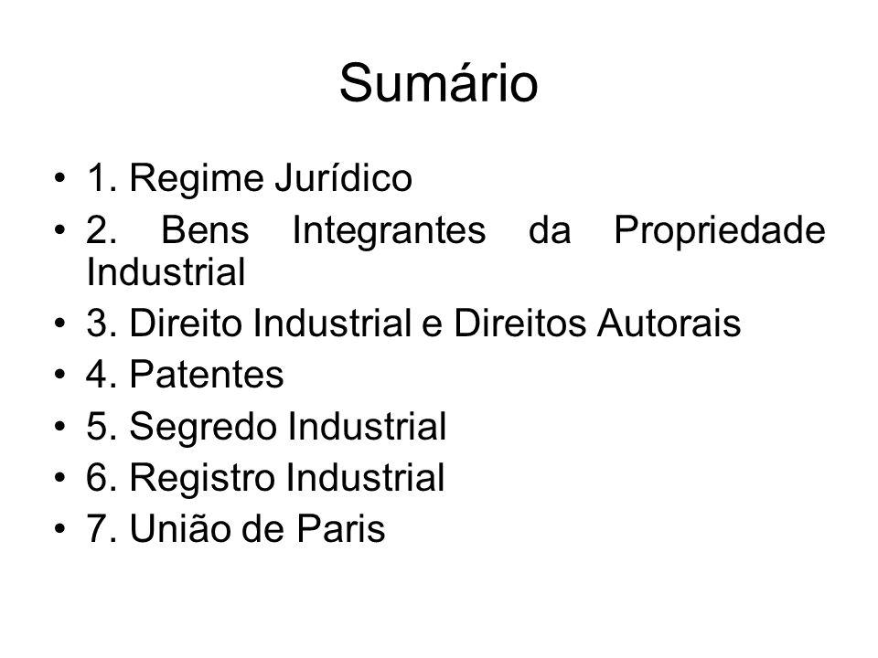 Sumário 1.Regime Jurídico 2. Bens Integrantes da Propriedade Industrial 3.