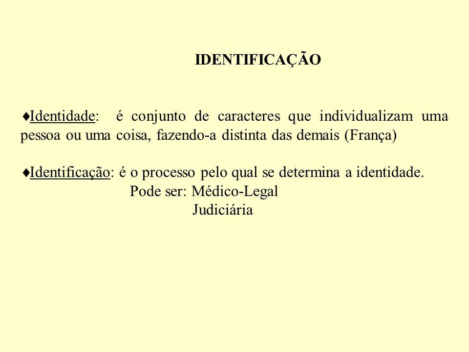 IDENTIFICAÇÃO Identidade: é conjunto de caracteres que individualizam uma pessoa ou uma coisa, fazendo-a distinta das demais (França) Identificação: é o processo pelo qual se determina a identidade.