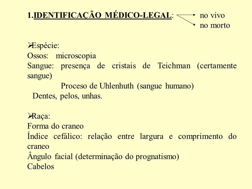 1.IDENTIFICAÇÃO MÉDICO-LEGAL: no vivo no morto Espécie: Ossos: microscopia Sangue: presença de cristais de Teichman (certamente sangue) Proceso de Uhlenhuth (sangue humano) Dentes, pelos, unhas.