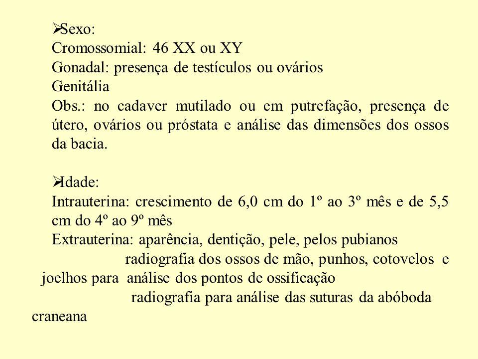 Sexo: Cromossomial: 46 XX ou XY Gonadal: presença de testículos ou ovários Genitália Obs.: no cadaver mutilado ou em putrefação, presença de útero, ovários ou próstata e análise das dimensões dos ossos da bacia.
